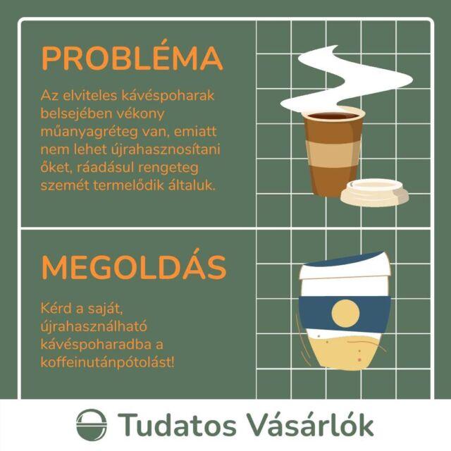 ☕A papír kávéspoharakkal két probléma van: egyrészt, hogy nem csak papírból készülnek, másrészt pedig, hogy eldobhatóak. Ha szeretnéd megelőzni a felesleges szemetet, szerezz be egy saját, éveken át használható kávéspoharat és kérd abba a kávét kedvenc kávézódban! ♻️A papír kávéspoharak belül egy vékony műanyagréteget kapnak, ami tartást ad nekik. Így ugyan kényelmesen lehet belőlük szürcsölni a forró italt, de újrahasznosítani már nem lehet. De ha lehetne is, akkor is rengeteg felesleges hulladék keletkezik általuk. Válts a saját, folyamatosan újrahasználható pohárra! Hidd el, sokkal jobban fog esni belőle a koffein! #műanyagmentesjúlius #kávé #kávéspohár #fenntarthatósg #környezetvédelem #szelektívhulladék #szelektívhulladékgyűjtés #szelektív